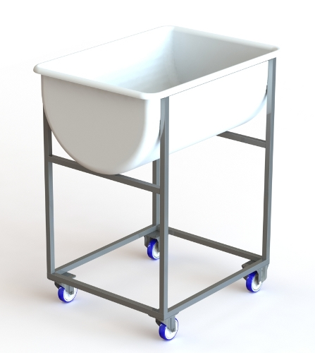 Stainless steel trolley for dough container