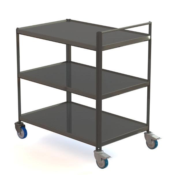 Stainless steel serving trolley without hollow body