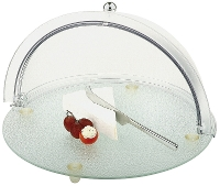 Glass cheese platter with rolltop cover D.38