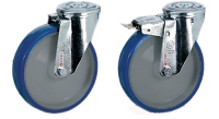 Roulette inox fixation à trou central roue bleue