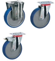 Stainless steel caster with plate and blue wheel SH