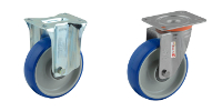 Stainless steel caster with plate and blue wheel BB