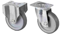 Stainless steel caster with rubber plate