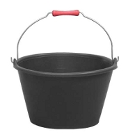 Black polyethylene 15 liter bucket with handgrip