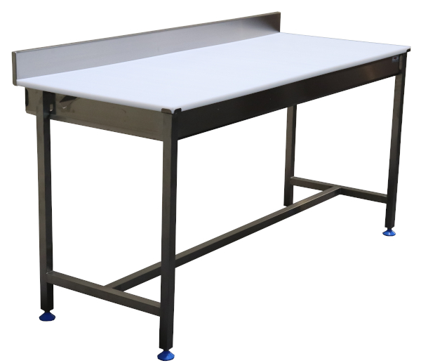 Stainless steel upstand cutting table with polyethylene top