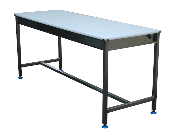 Stainless steel cutting table with polyethylene top